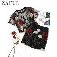 ZAFUL Floral Embroidered Mesh Blouse Pencil Skirt Set Sexy 2 Pieces Women Set Streetwear Flower Summer Beach High Waist Skirts