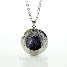 Black Bird Raven Pendant Gothic Crow Necklace Halloween Jewelry cute Dog locket Pendant statement Jewelry men women N453(China)