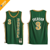 Retro Cheap Allen Iverson Jerseys 3 Bethel High School White Green Throwback Stitched Commemorative Shirts Top