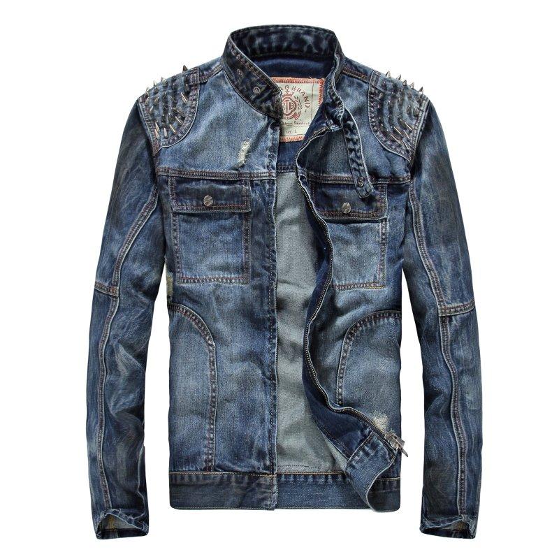 Plus size Denim Jacket Men punk style Rivets fashion jean Jackets stand collar Menu0026#39;s cacual ...