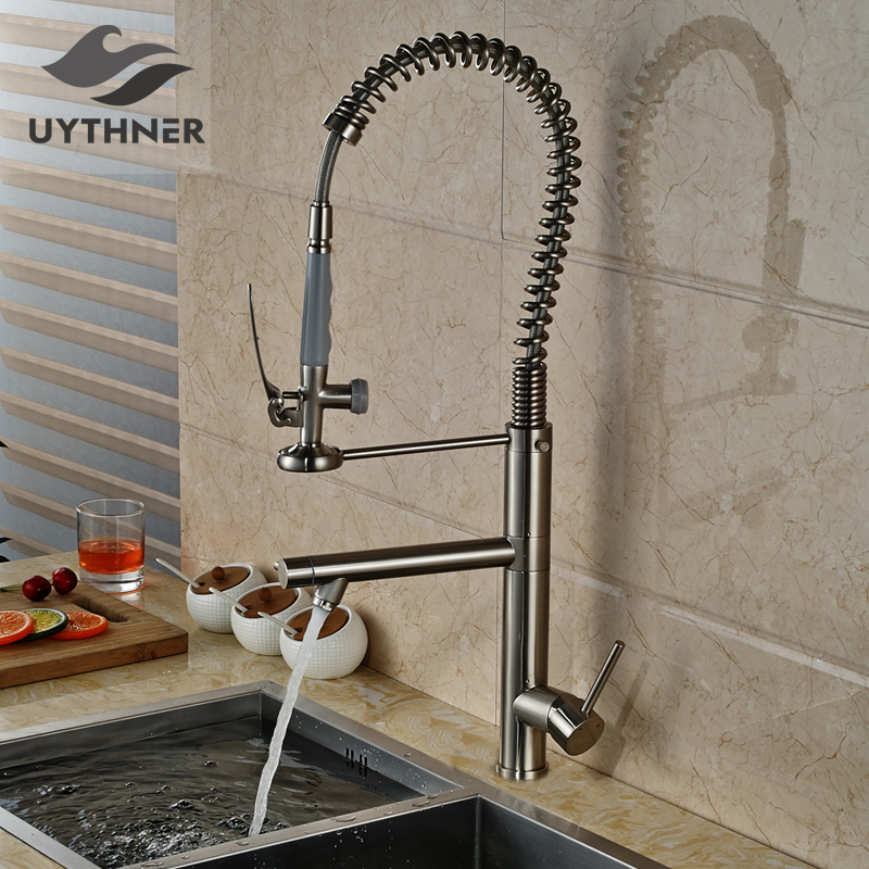 Solid Brass Tall Swivel Dual Spouts Spring Kitchen Faucet Spring Mixer Tap Brush Nickle Deck Mounted free shipping low price promotion brushed nickle solid brass spring kitchen faucet two spouts pull deck mount mixer faucet zr659