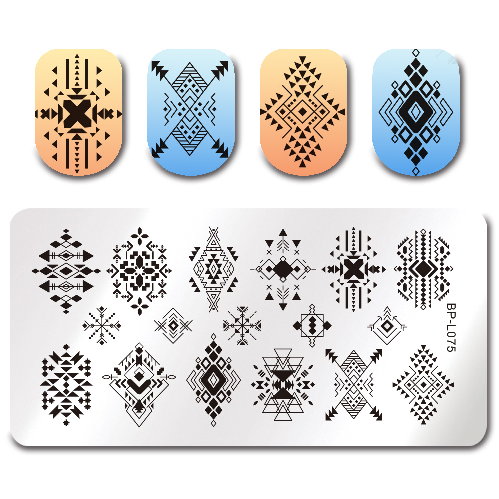 Geometric Reverse Stamping Nail Art Born Pretty Review: BORN PRETTY Rectangle Stamping Template Tribe