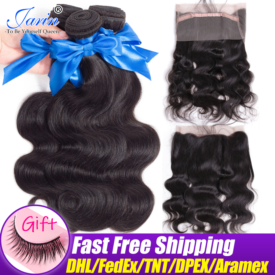 Jarin Hair Body Wave 3 Bundles With 360 Frontal Closure Malaysian Human Hair 130% Density Lace Front Closure Natural Black-in 3/4 Bundles with Closure from Hair Extensions & Wigs    1