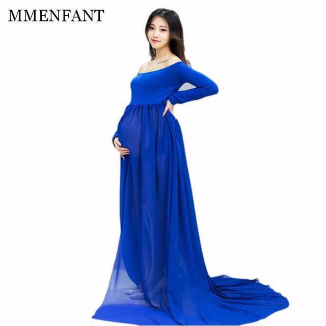 e4949a131ae Roupas de maternidade dress fotografia grávida 2017 nova moda maternidade  vestidos de chiffon azul longo vestidos