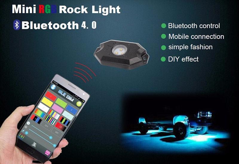 Led Rock Light 4 Light Pods RGB Multi-color Under Body Glow Led Light xv.jllpg