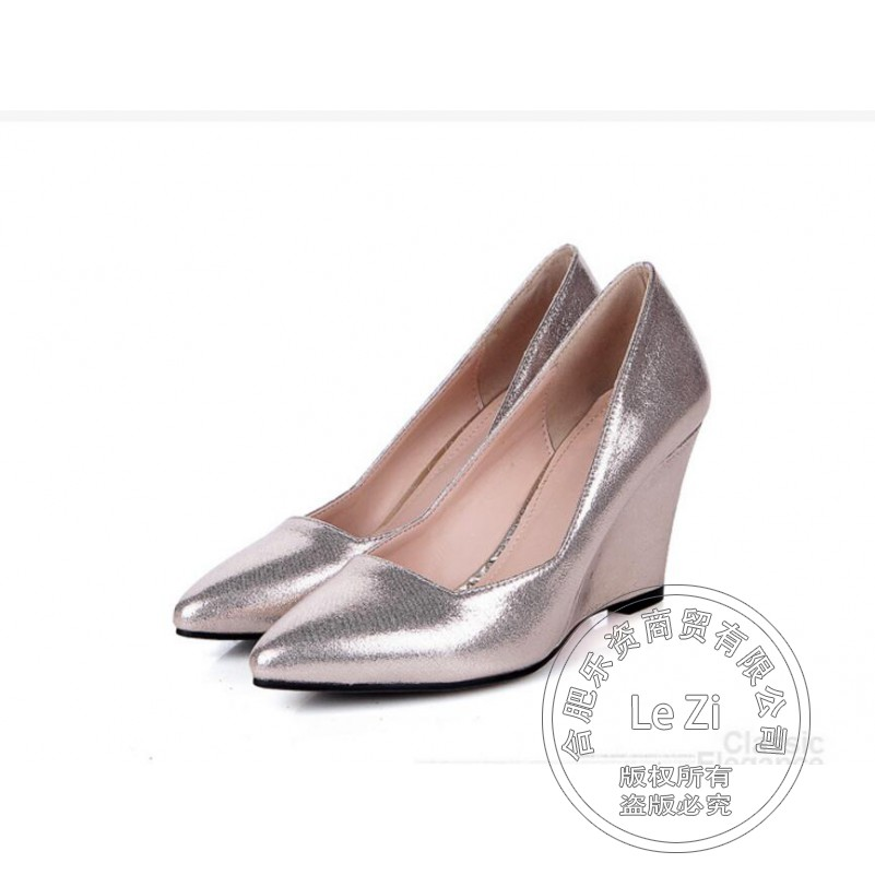 Sexy High Heels Pointed Toe Supercolor Spring Autumn Glossy Party Shoes New Wedge 2015 Summer Style