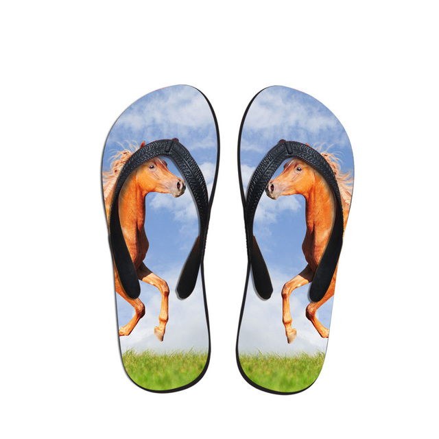 a4c20ddb7fbc2 US $18.31 |Noisydesigns Casual Men Flip Flops Beach Shoes 3D Crazy Horse  Printed Men Shoes Flat Bath Slippers Summer Sandals Indoor Slipper-in Flip  ...