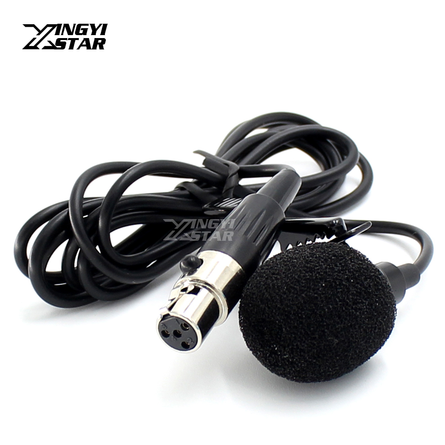 Mini XLR 4 Pin TA4F Plug Wired Microfone Condenser Tie Clip On Lapel Lavalier Microphone For SHURE Karaoke Wireless Transmitter