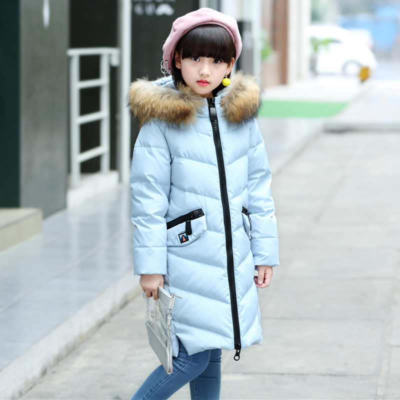 Down Jacket For Girls Winter Coat 2017 New Fashion Solid Long Topcoat Hooded Big Fur Collar Warm Big Pockets Outwear 130-160 new women winter down cotton long style jacket fashion solid color hooded fur collar thick plus size casual slim coat okxgnz 910