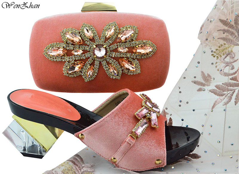 Italian African Party Pumps Shoes and Bag With Crystal Peach Color Latest Women Italian Shoes with Matching Bags Sets B89 22
