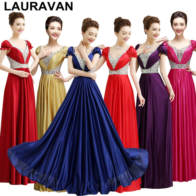 multi color plus size gold dark red purple satin v neck brides maids dress  bridesmaid dresses royal blue gowns free shipping 9674c67ea773