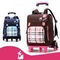 Съемный школьный рюкзак для мальчиков и девочек  с 2/6 колесами и ступенями