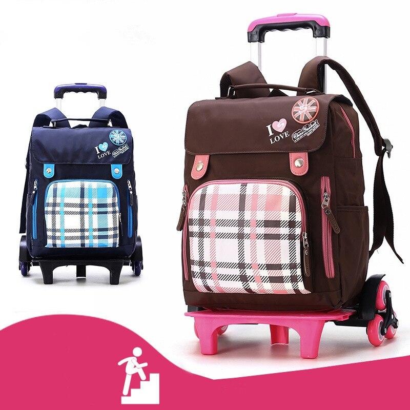 휠 학교 배낭 이동식 어린이 학교 가방 2/6 바퀴 계단 아이 소년 소녀 트롤리 schoolbag 수하물 책 가방-에서학교가방부터 수화물 & 가방 의  그룹 1