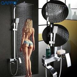 Gappo torneira da banheira fixado na parede do banheiro torneira do chuveiro conjunto banho de chuveiro torneiras misturadoras cachoeira cabeça de chuveiro inoxidável