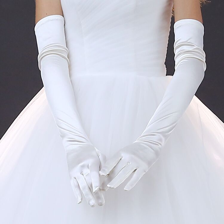 Elbow Length Long Woman Wedding Gloves Finger White Bridal Wedding Gloves 2018 New Arrival Satin Dance Gloves