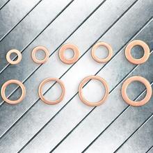 200Pcs M5 M6 M8 M10 M12 M14 Copper Flat Washers Gaskets Ring Seal Assortment Kit  Hot Sale