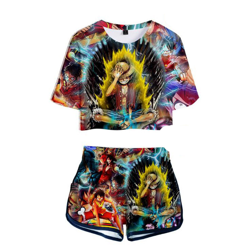 The Pirate King Japanese Anime One Piece 3D Print Short Sleeve Crop Top + Shorts Sweat Suits Women Tracksuits Two Piece Outfit