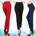WomensDate 2017 Spring Autumn Women Casual Pants High Waist Elastic Slim Pants Cotton Knitted Elastic Waist Pencil Trousers