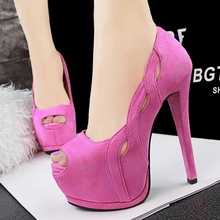 Free shipping summer sexy nightclub peep toe single shoes hollow suede thin heel women's high heeled shoes