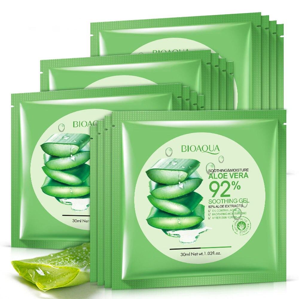 10Pcs BIOAQUA Natural Aloe Vera Gel Face Mask Skin Care Moisturizing Oil Control Whitening Mask Shrink Pores Facial Masks JX09