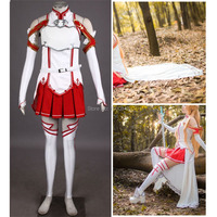 Athemis Sword Art Online Asuna Cosplay Outfit Longer Lace Cloak Custom Made Size