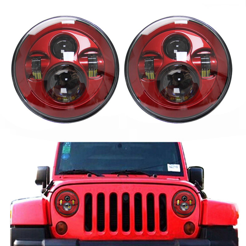 a pair 7 inch Round Headlights Red Led Daymaker For Jeep Wrangler 97-15 Hummer Toyota Defender Motorcycle Headlamp For Harley vosicky 7 inch round headlights led daymaker with bracket ring for jeep wrangler 97 15 hummer toyota motorcycle headlamp