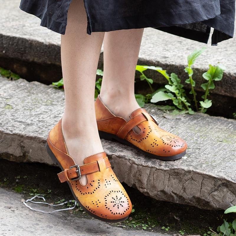 Loafer Schnalle Color Slip Image Sommer Retro Schuhe on Rindsleder Weibliche Color Hohl Echtes image Leder AqwaxYgt