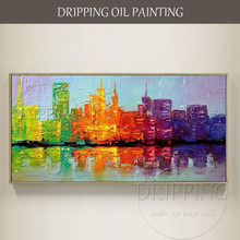 Skilled Artist Hand-painted High Quality Modern Abstract Cityscape Oil Painting Knife Textured City