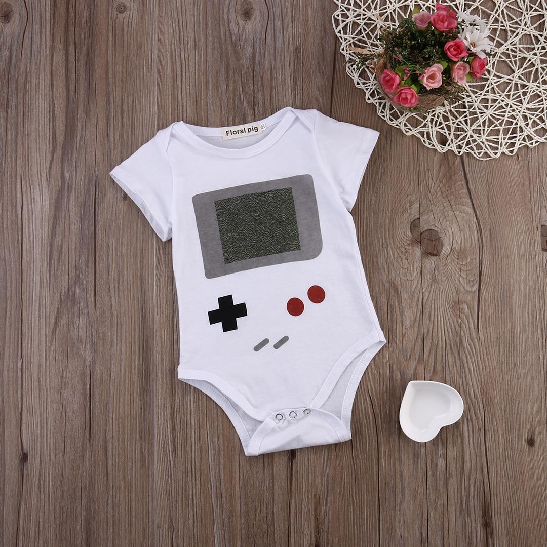 Todders Bebê Infantil Menina Menino Bodysuit Branco Jogador Do Jogo  Imprimir Bodysuits Jumpsuit Playsuit Outfits Roupas b2c992e4e1e