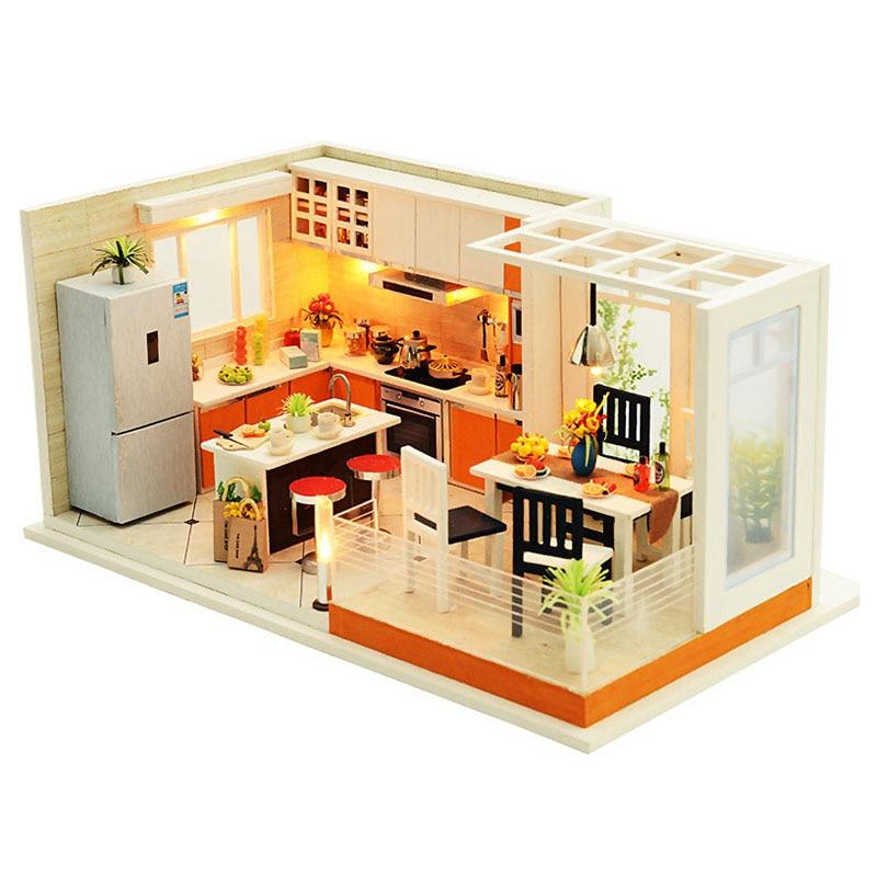 Modern Kitchens Handmade Dollhouse Furniture Miniature Diy Dollhouse Miniature Dollhouse Wooden Toys For Children diy dollhouse