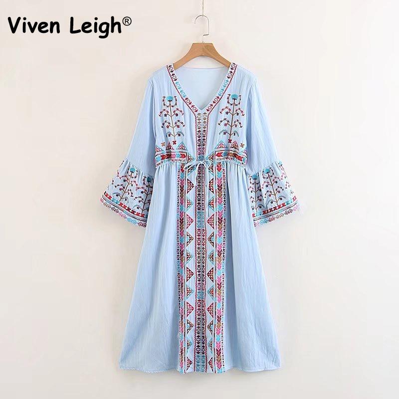 840eea66c0 Robe Vacances Casual Boho Robes Cravates Arc Bleu Midi Femmes blanc Veau  Vintage Floral Coton Viven Hippie 2018 Leigh Longue Broderie O7qnOxEP