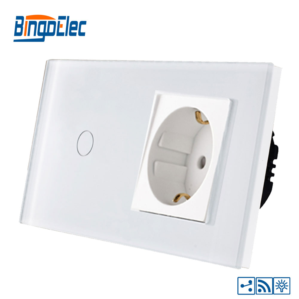 Bingoelce 1 Gang 2 Way Touch Switch Luxury Glass Panel Remote Dimmer With Germany Socket Wall