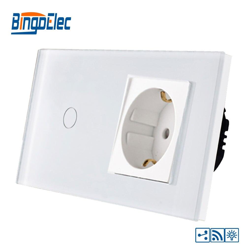 Bingoelce 1 Gang 2 voies tactile interrupteur panneau de verre de luxe variateur à distance avec prise allemagne mur tactile écran lumière interrupteur