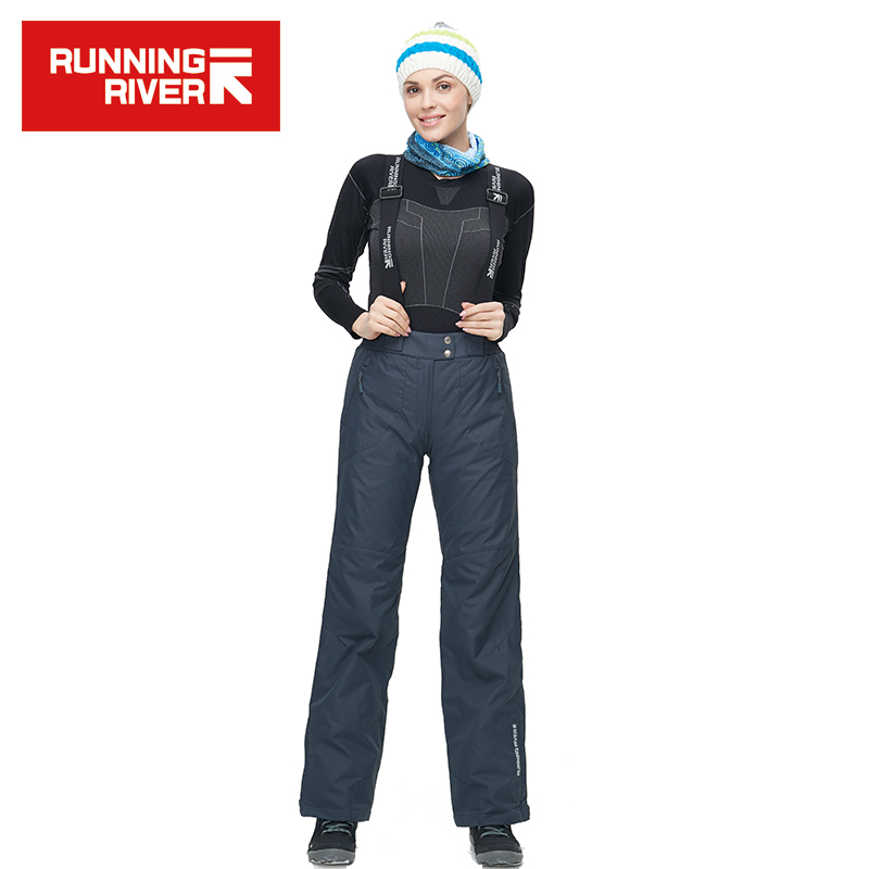 RUNNING RIVER Brand Women Grey Ski Pants With Shoulder Straps Ship From Russia & China Warm Women Pants Size S - 3XL #B4065
