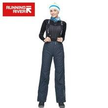 FLUSS Marke Frauen Grau Skihose Mit Schultergurte Schiff aus Russland & China Warme Frauen Hosen Größe S-3XL # B4065
