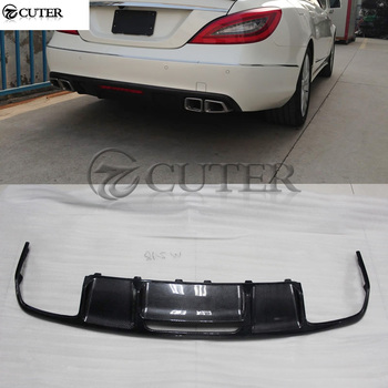 W218 CLS500 CLS63 estilo AMG fibra De Carbono Car rear bumper lip Amortecedor Traseiro Spoiler difusor para Mercedes Benz W218 CLS350 12-15