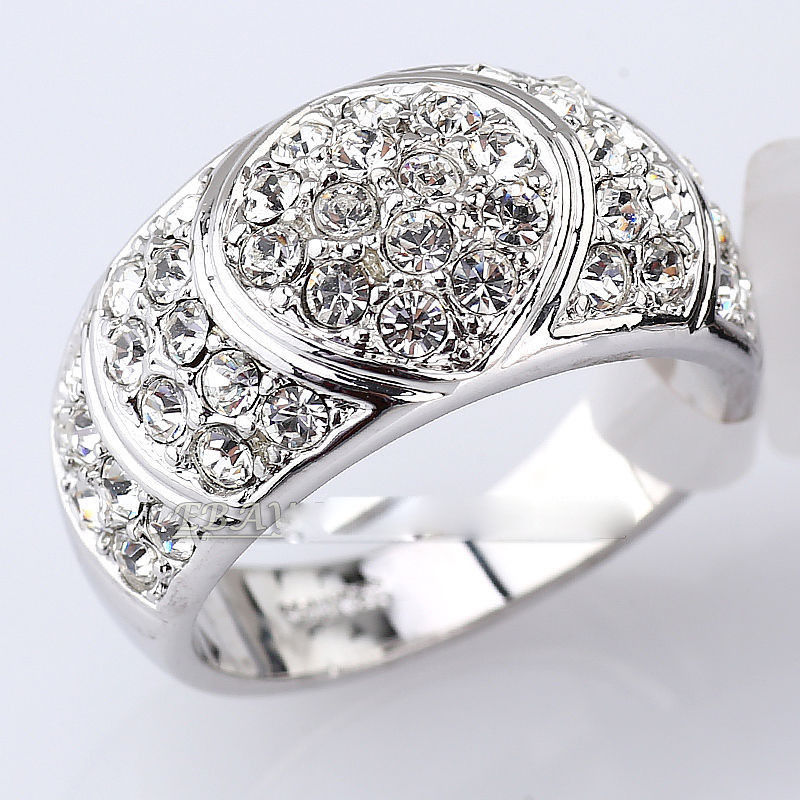 Free shipping Simulated Sapphire Fashion Ring 18KGP use Crystal Size 6.7.8.9.10#