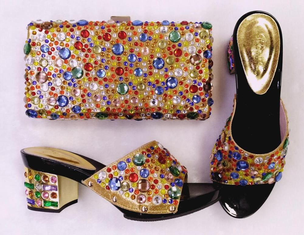 ФОТО 2017 Summer African Style Shoes and Bag Set Italy African Shoes and Bag for Woman Italian Matching Shoes and Bag Set for Party