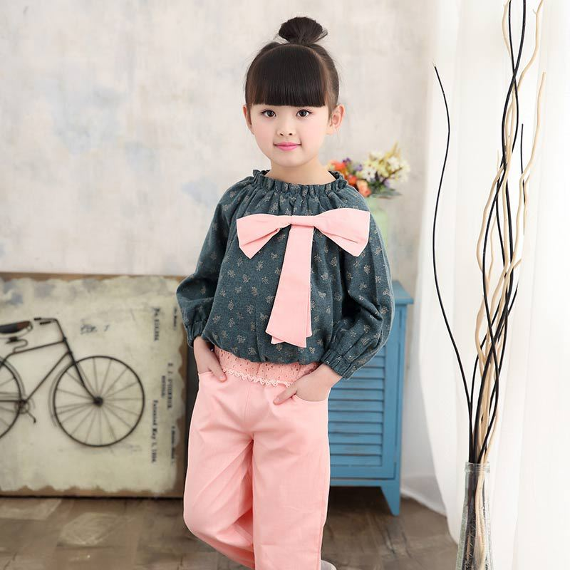 Children's clothing 2018 spring autumn cotton long-sleeved cartoon suit print shirt + pants 2-12 years old baby girl clothes