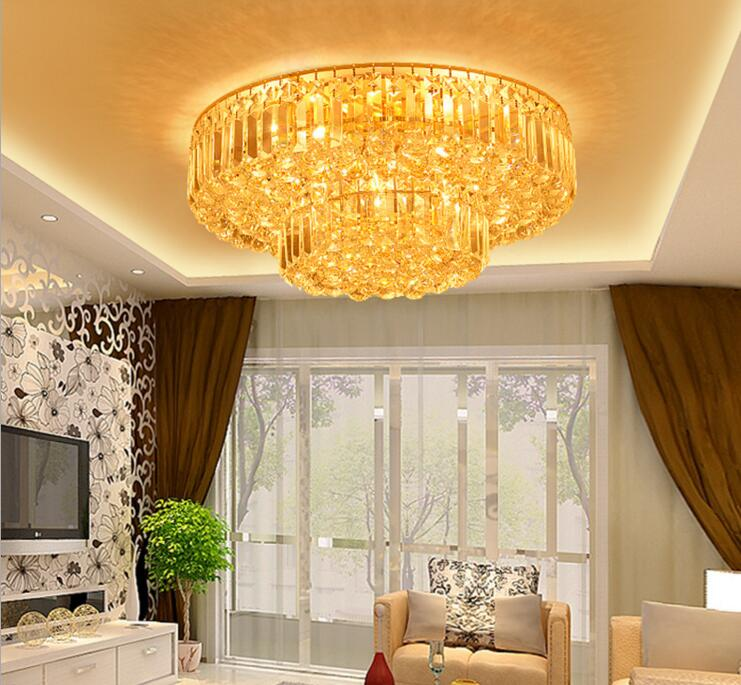 Gold round le ceiling lamp modern simple living room crystal lamp villa hotel restaurant bedroom cake