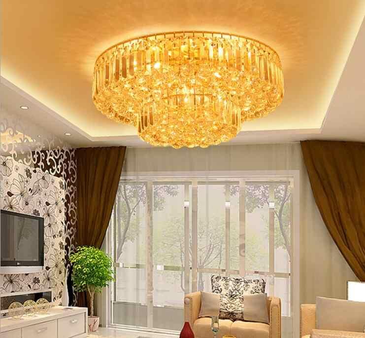 Золотой круглый потолочный светильник, современный простой хрустальный светильник для гостиной, вилла, отель, ресторан, спальня, светильник для торта, для спальни, светильник ing