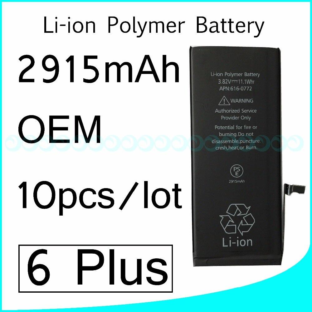 imágenes para 10 unids/lote venta Caliente OEM 0 ciclo cero Completa Capacidad de La Batería para el iphone 6 6G Más 2915 mAh 3.82 V Reparación de Piezas de Reemplazo