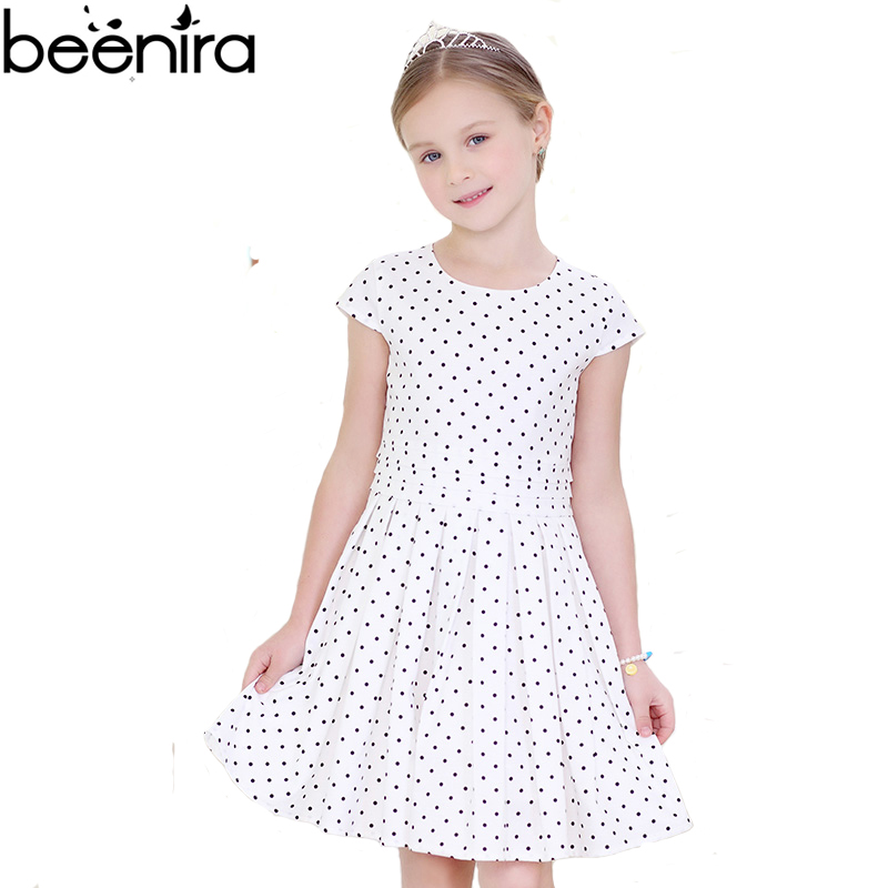 BEENIRA Summer Girls Dresses Baby Dot Print White Color Princess Classic Costume Child Draped A Line Clothing 2017 High Quality