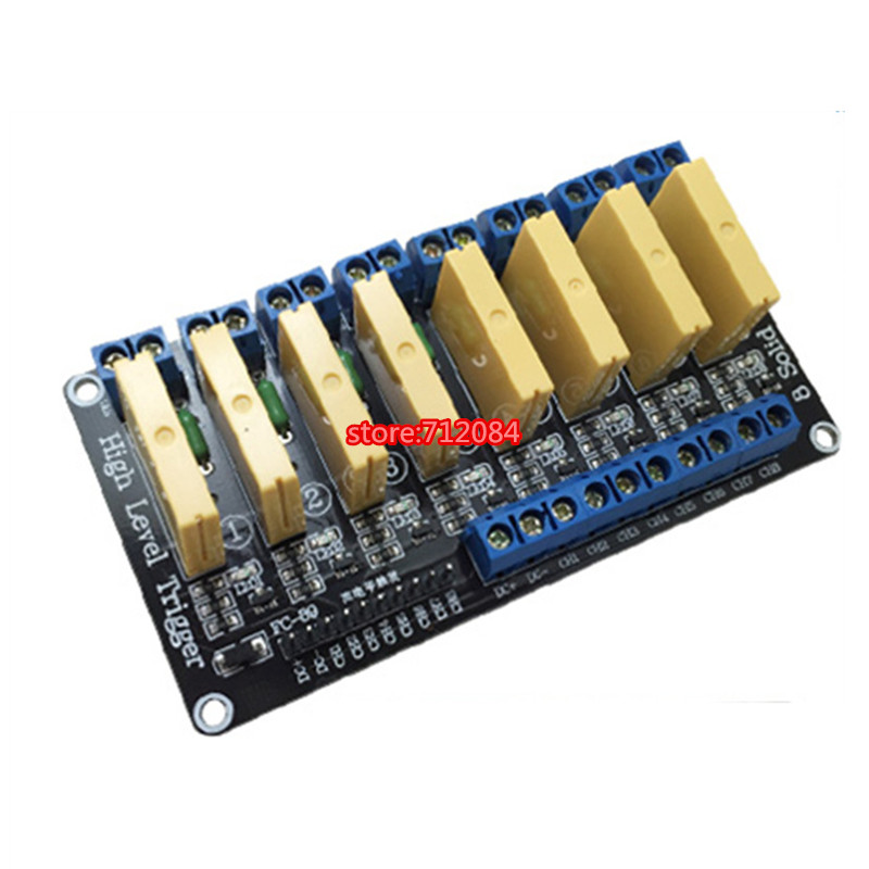 8 channel solid state relay module High level 5A trigger DC control DC 3-32V load 5A PLC automation equipment control