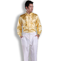 S 3XL 2015 boy's costumes dress for ballroom dancing Men show Sequins shirts stage costume party latin dance shirt long sleeve