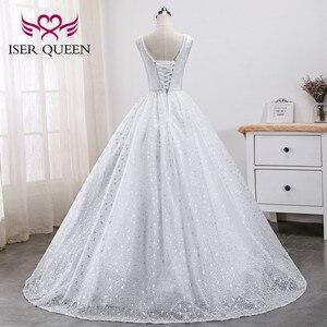 Image 3 - פניני חרוזים רקמה לבן כלה שמלת ערבית שמלות 2020 חדש ללא שרוולים די תחרה נסיכת חתונה שמלת WX0005