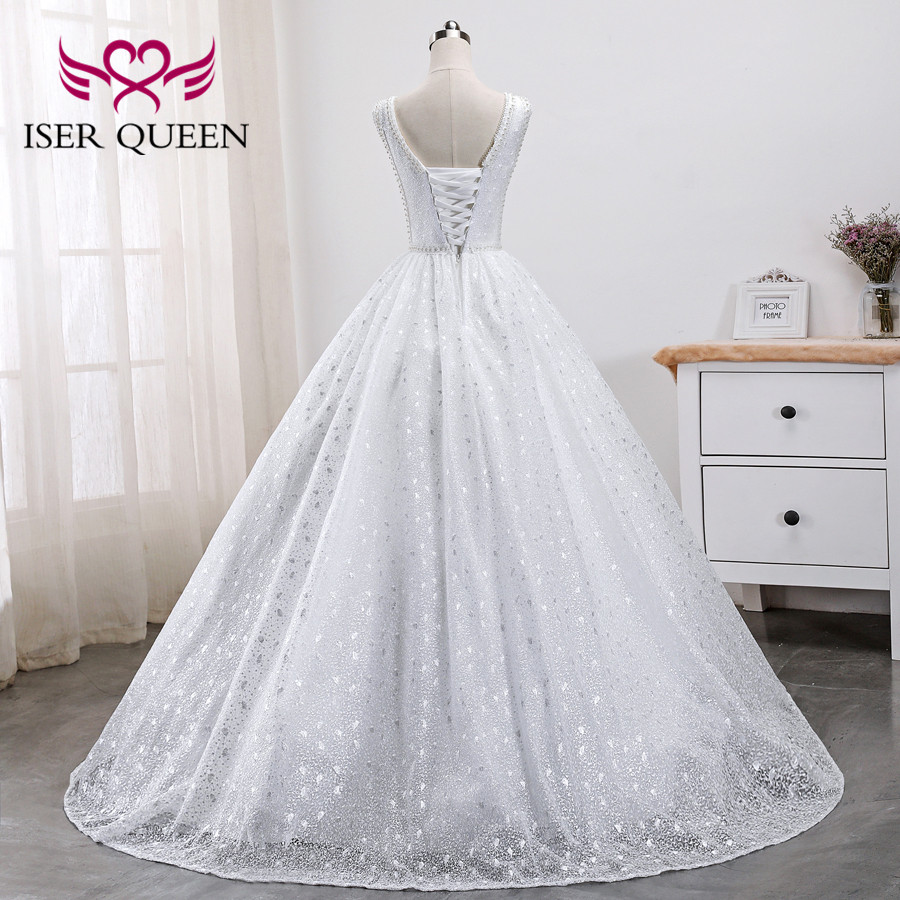 Pearls Beads Embroidery White Bridal Dress Arab Wedding Dresses 2019 New Sleeveless Pretty Lace Princess Wedding Gown WX0005