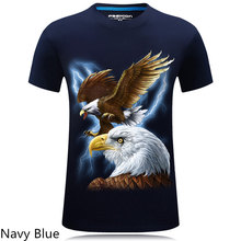 2017 summer style creative novelty eagle print 3D animal T shirt for men high quality T-shirt cool colorful camisetas hombre