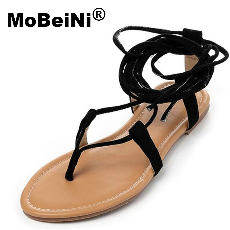 MoBeiNi 2017 Multiple Cross Strap Tall Knee High Summer Roman Sandals Bondage Thong Nubuck Suede Gladiator Flat Sandals