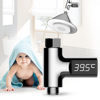 Home Water Temperature Monitor 5 85 Deg C LED Display Flow Self Generating Electricity Water Shower